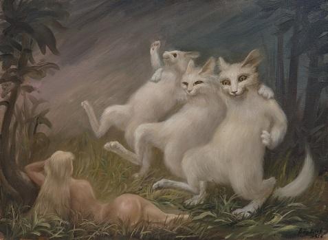 Первые коты веселят Еву