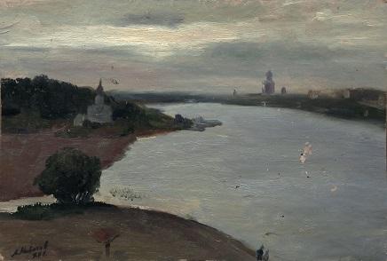 Псков. Река Великая с высоты Мирожки