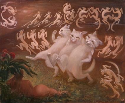 Коты греют Еву